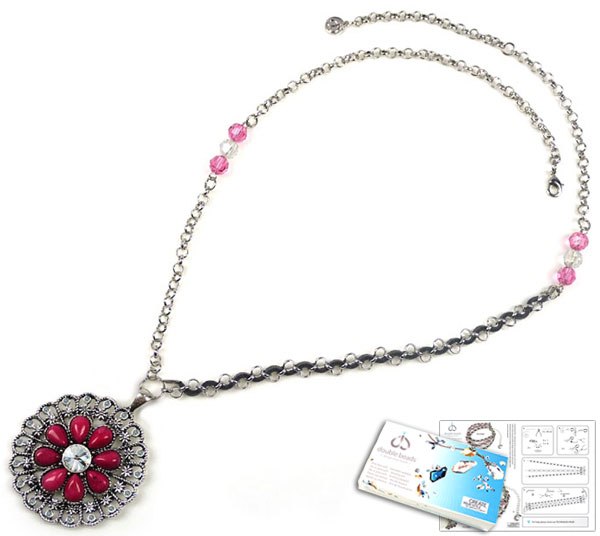 www.beadyourfashion.com - DoubleBeads Jewelry Kit Ornamental Flower necklace ± 61-68cm with SWAROVSKI ELEMENTS beads, pointed backs and various other materials (such as natural stone, imitation suede and metal accessories)