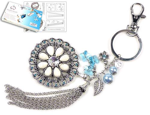 doublebeads kit de bijoux blue lily porte clefs 19cm avec swarovski elements perles. Black Bedroom Furniture Sets. Home Design Ideas