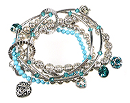 DoubleBeads Jewelry Kit Blue Metal bracelet stretchable, inner size ± 18cm, with SWAROVSKI ELEMENTS pearls, beads, pointed backs and various other materials (such as metal accessories)