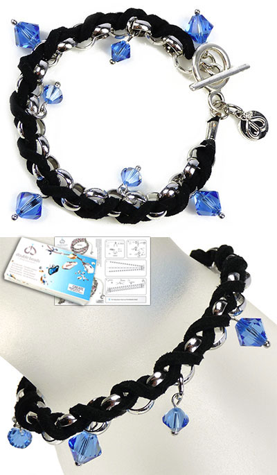 www.beadyourfashion.com - DoubleBeads Jewelry Kit Entwined bracelet, inner size ± 19cm, with SWAROVSKI ELEMENTS beads and various other materials (such as imitation suede and metal accessories)