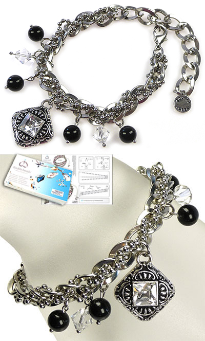 www.beadyourfashion.com - DoubleBeads Jewelry Kit Bohemian Rock bracelet, inner size ± 17-25cm, with SWAROVSKI ELEMENTS pearls, beads, pointed backs and various other materials (such as metal accessories)