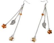 DoubleBeads Sieradenpakket Golden Blossom oorbellen ± 12cm met SWAROVSKI ELEMENTS kralen, hangers en diverse andere materialen (o.a. metalen accessoires)