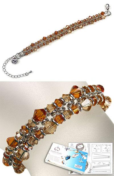 www.beadyourfashion.nl - DoubleBeads Sieradenpakket Rusty Sparkle armband, binnenmaat ± 17-23cm, met SWAROVSKI ELEMENTS kralen en diverse andere materialen (o.a. metalen accessoires)
