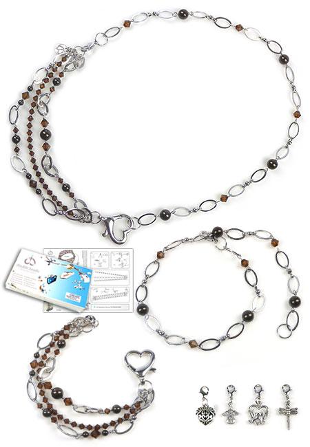 www.beadyourfashion.nl - DoubleBeads Sieradenpakket Midnight Flight halsketting/armbanden ± 57cm/19cm met SWAROVSKI ELEMENTS parels, kralen en metalen bedels, ketting en accessoires
