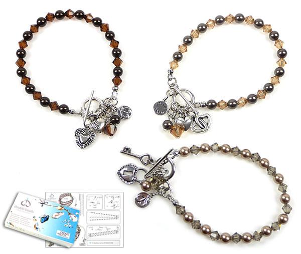 www.beadyourfashion.nl - DoubleBeads Sieradenpakket Diamond Hearts armband, binnenmaat ± 19cm (set van 3 stuks) met SWAROVSKI ELEMENTS parels, kralen en diverse andere materialen (o.a. metalen hangers/bedels en accessoires)