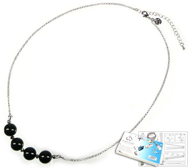 www.beadyourfashion.nl - DoubleBeads Sieradenpakket Bubbles halsketting ± 53-60cm met SWAROVSKI ELEMENTS parels, kralen en diverse andere materialen (o.a. metalen accessoires)