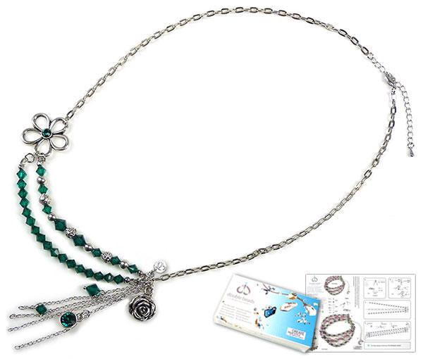 www.beadyourfashion.nl - DoubleBeads Sieradenpakket Emerald Beauty halsketting ± 61-68cm met SWAROVSKI ELEMENTS kralen, similistenen en diverse andere materialen (o.a. metalen hangers/bedels en accessoires)