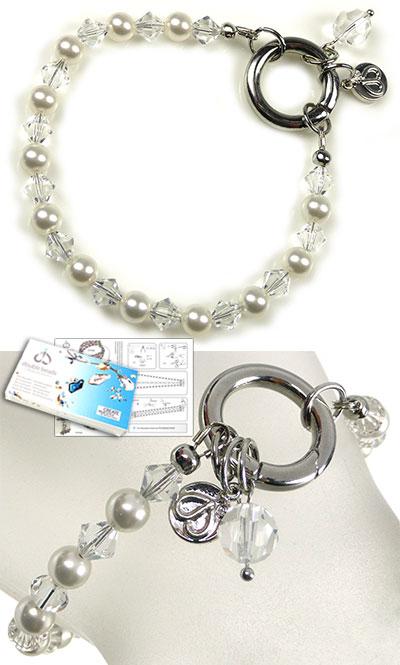 www.beadyourfashion.nl - DoubleBeads EasyClip Sieradenpakket Eternal armband, binnenmaat ± 18,5cm, met SWAROVSKI ELEMENTS parels, kralen en diverse andere materialen (o.a. metalen accessoires)