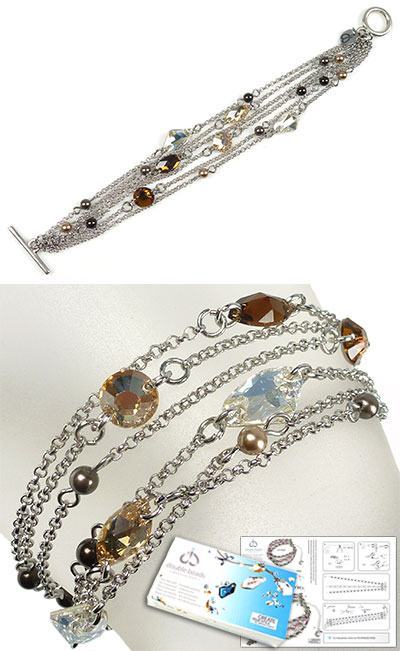 www.beadyourfashion.com - DoubleBeads Jewelry Kit Gems bracelet, inner size ± 17,5cm, with SWAROVSKI ELEMENTS pearls, connectors and various other materials (such as metal accessories)