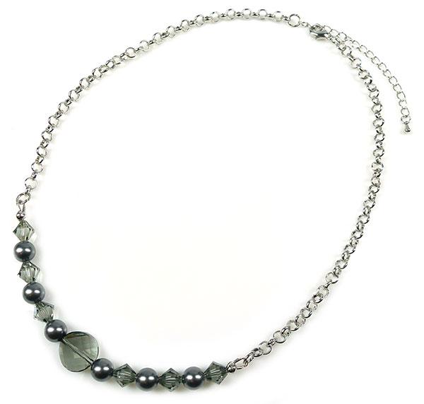 www.beadyourfashion.nl - DoubleBeads Sieradenpakket Sparkle Daily halsketting ± 47-55cm met SWAROVSKI ELEMENTS parels, kralen en diverse andere materialen (o.a. metalen accessoires)