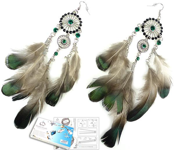 www.beadyourfashion.nl - DoubleBeads Sieradenpakket Spirits oorbellen ± 17cm met SWAROVSKI ELEMENTS similistenen en diverse andere materialen (o.a. veren en metalen accessoires)