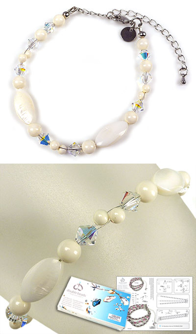 www.beadyourfashion.com - DoubleBeads Jewelry Kit Atlantis bracelet, inner size ± 19-27cm, with SWAROVSKI ELEMENTS pearls, beads and various other materials (such as mother of pearl beads and metal accessories)