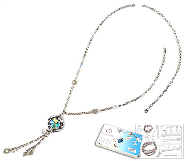 www.beadyourfashion.nl - DoubleBeads Sieradenpakket Frozen halsketting ± 47-69cm, met SWAROVSKI ELEMENTS kralen, similisteen en diverse andere materialen (o.a. metalen accessoires)