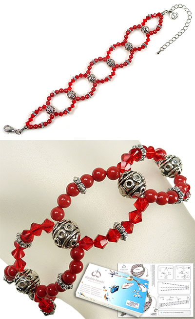www.beadyourfashion.com - DoubleBeads Jewelry Kit Red Carpet bracelet, inner size ± 19-27cm, with SWAROVSKI ELEMENTS pearls, beads and various metal accessories