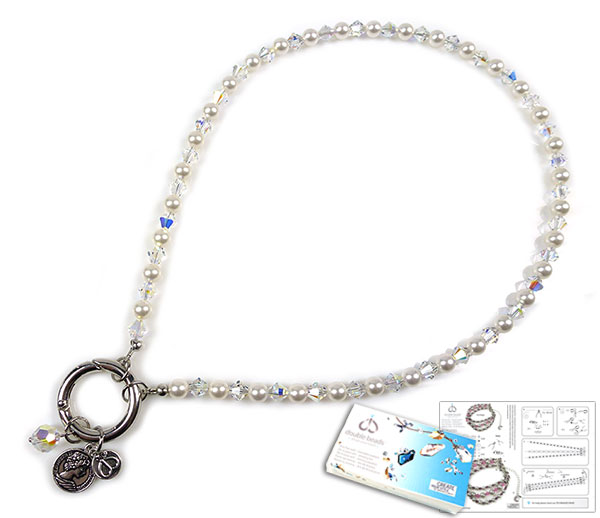 www.beadyourfashion.com - DoubleBeads EasyClip Jewelry Kit Eternal necklace ± 44cm, with SWAROVSKI ELEMENTS pearls, beads and various other materials (such as metal accessories)