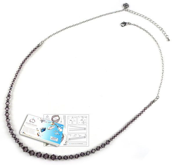 www.beadyourfashion.nl - DoubleBeads Sieradenpakket Fantasy halsketting ± 61-69cm, met SWAROVSKI ELEMENTS kralen en diverse andere materialen (o.a. metalen accessoires)