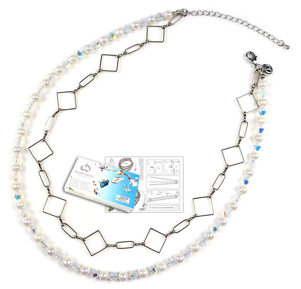www.beadyourfashion.com - DoubleBeads Jewelry Kit Ice Cubes necklace ± 41-48cm, with SWAROVSKI ELEMENTS beads, mother of pearl beads and various other materials (such as metal accessories)