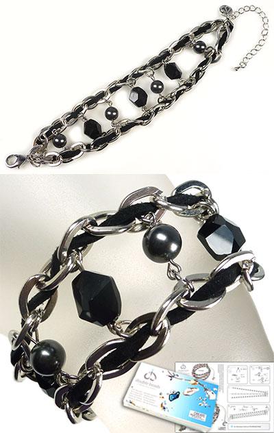 www.beadyourfashion.nl - DoubleBeads Sieradenpakket Sturdy Black armband, binnenmaat ± 16-23cm, met SWAROVSKI ELEMENTS parels, kralen, kunstsuede en diverse metalen accessoires