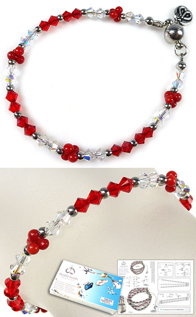 www.beadyourfashion.com - DoubleBeads Jewelry Kit Red Berries bracelet, inner size ± 18,5cm, with SWAROVSKI ELEMENTS beads, natural stone coral beads and magnetic clasp (warning: not to be worn by people with a pacemaker)