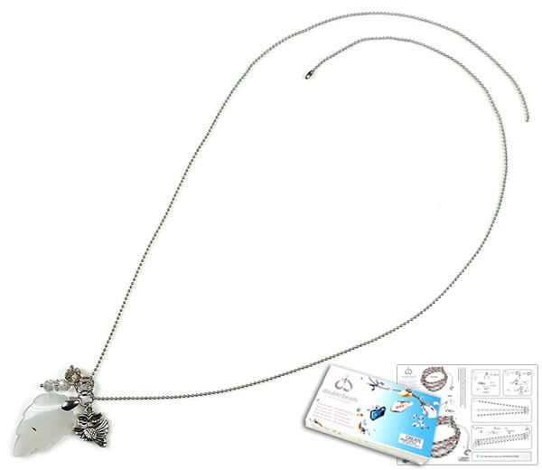www.beadyourfashion.nl - DoubleBeads Sieradenpakket Leaves halsketting ± 80cm, met SWAROVSKI ELEMENTS kralen en diverse andere materialen (o.a natuursteen hanger Agate en metalen accessoires)