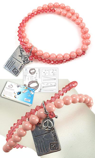 www.beadyourfashion.nl - DoubleBeads Sieradenpakket Cotton Candy armband rekbaar, binnenmaat ± 18cm, met SWAROVSKI ELEMENTS parels, kralen en diverse andere materialen (o.a. metalen accessoires)