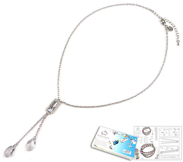 www.beadyourfashion.com - DoubleBeads Jewelry Kit Swing necklace ± 46-53cm, with SWAROVSKI ELEMENTS fancy stone, pendants, pointed backs and various other materials (such as metal accessories)