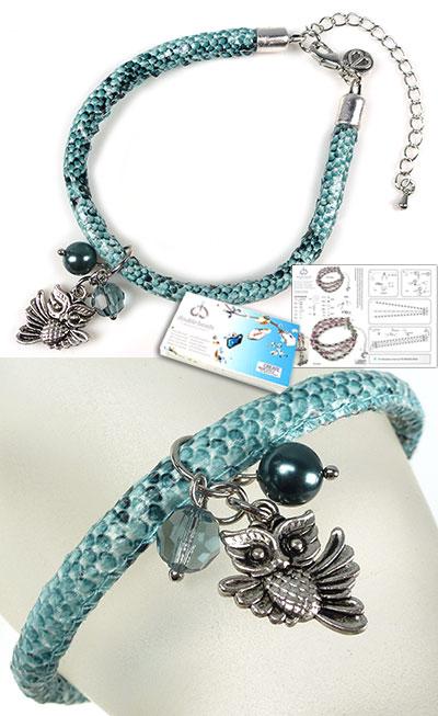 www.beadyourfashion.nl - DoubleBeads Sieradenpakket Animal Kingdom armband, binnenmaat ± 21,5-29cm, met SWAROVSKI ELEMENTS parel, kraal, imitatieleren koord en diverse metalen accessoires