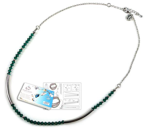www.beadyourfashion.nl - DoubleBeads Sieradenpakket Modern Art halsketting ± 47-52cm, met SWAROVSKI ELEMENTS kralen en diverse andere materialen (o.a metalen accessoires)