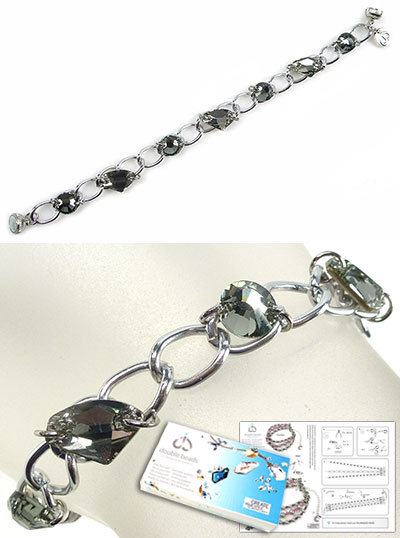 www.beadyourfashion.com - DoubleBeads Jewelry Kit On The Rocks bracelet, inner size ± 17cm, with SWAROVSKI ELEMENTS connectord and magnetic clasp (warning: not to be worn by people with a pacemaker)
