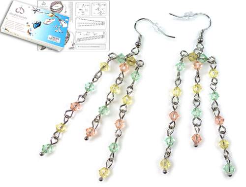 www.beadyourfashion.com - DoubleBeads Jewelry Kit Tropical earrings ± 7cm with SWAROVSKI ELEMENTS beads and various other materials (such as metal accessories)