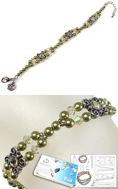 www.beadyourfashion.nl - DoubleBeads Sieradenpakket Apples armband, binnenmaat ± 18-25,5cm, met SWAROVSKI ELEMENTS parels, kralen, plakstenen en diverse andere materialen (o.a. metalen accessoires)