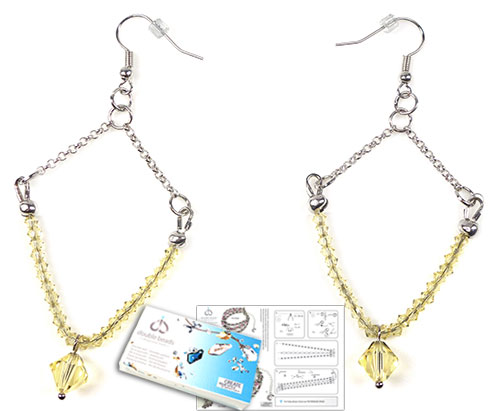 www.beadyourfashion.com - DoubleBeads Jewelry Kit Empress earrings ± 9cm with SWAROVSKI ELEMENTS beads and various other materials (such as metal accessories)
