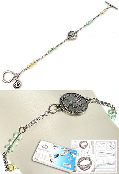 www.beadyourfashion.nl - DoubleBeads Sieradenpakket Penny armband, binnenmaat ± 18cm, met SWAROVSKI ELEMENTS kralen en diverse andere materialen (o.a. metalen accessoires)