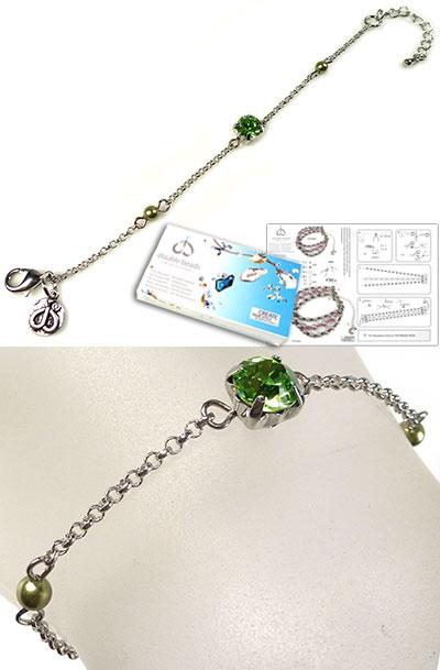 www.beadyourfashion.nl - DoubleBeads Sieradenpakket Beacon armband, binnenmaat ± 15-20cm, met SWAROVSKI ELEMENTS parels, similisteen en diverse andere materialen (o.a. metalen accessoires)