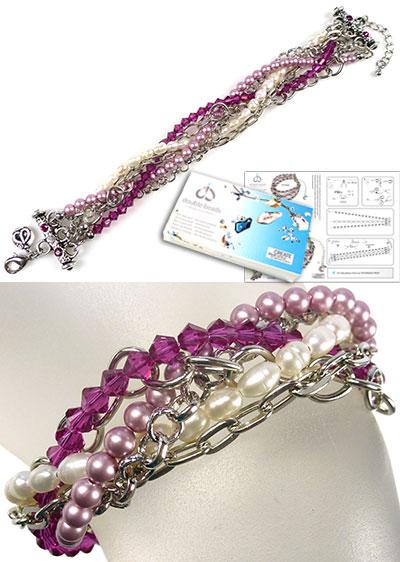 www.beadyourfashion.nl - DoubleBeads Sieradenpakket Berry Braid armband, binnenmaat ± 18-23cm, met SWAROVSKI ELEMENTS parels, kralen, similistenen en diverse materialen (o.a. echte zoetwaterparels en metalen accessoires)
