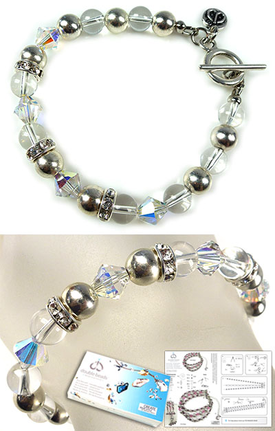 www.beadyourfashion.com - DoubleBeads Jewelry Kit Natural Crystal bracelet, inner size ± 20cm, with SWAROVSKI ELEMENTS rondelles, beads and various other materials (such as natural stone Natural Crystal and metal accessories)