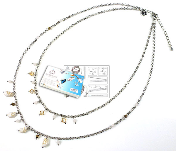 www.beadyourfashion.com - DoubleBeads Jewelry Kit To The Beach necklace ± 45-53cm, with SWAROVSKI ELEMENTS beads and various other materials (such as shell beads and metal accessories)