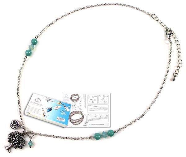 www.beadyourfashion.nl - DoubleBeads Sieradenpakket Cotton Candy halsketting ± 43-51cm, met SWAROVSKI ELEMENTS parels, kralen en diverse andere materialen (o.a. metalen accessoires)