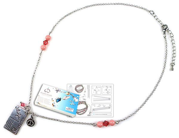 www.beadyourfashion.com - DoubleBeads Jewelry Kit Cotton Candy necklace ± 43-51cm, with SWAROVSKI ELEMENTS pearls, beads and various other materials (such as metal accessories)
