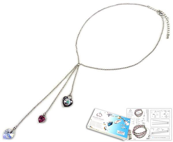 www.beadyourfashion.nl - DoubleBeads Sieradenpakket Heartbeat halsketting ± 40-48cm met SWAROVSKI ELEMENTS hanger, fancy stone, similisteen en diverse andere materialen (o.a. metalen accessoires)