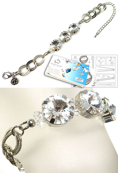 www.beadyourfashion.com - DoubleBeads Jewelry Kit Shimmer bracelet, inner size ± 17-24cm, with SWAROVSKI ELEMENTS beads, pointed backs and various materials (such as metal accessories)
