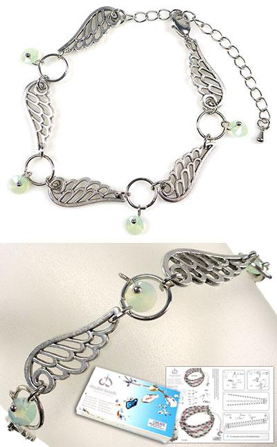 www.beadyourfashion.nl - DoubleBeads Sieradenpakket Wings armband, binnenmaat ± 17-25cm, met SWAROVSKI ELEMENTS hangers en diverse andere materialen (o.a. metalen accessoires)
