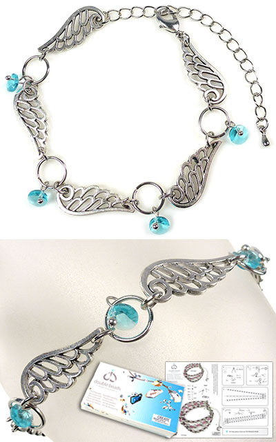 www.beadyourfashion.com - DoubleBeads Jewelry Kit Wings bracelet, inner size ± 17-25cm, with SWAROVSKI ELEMENTS pendants and various other materials (such as metal accessories)
