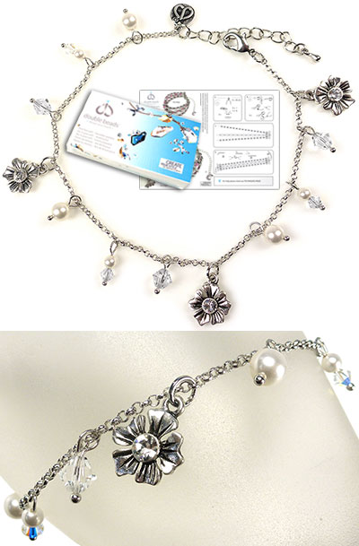 www.beadyourfashion.com - DoubleBeads Jewelry Kit Bloom ankle bracelet, inner size ± 24-29cm, with SWAROVSKI ELEMENTS pearls, beads, pointed backs and various other materials (such as metal accessories)