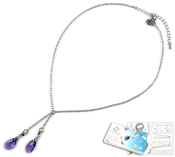 www.beadyourfashion.nl - DoubleBeads Sieradenpakket Tassel halsketting ± 41-48cm, met SWAROVSKI ELEMENTS hangers en diverse andere materialen (o.a metalen accessoires)