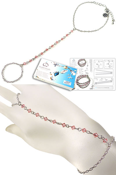 www.beadyourfashion.nl - DoubleBeads Sieradenpakket Tropical Princess handsieraad, binnenmaat ± 17-23cm, met SWAROVSKI ELEMENTS kralen en diverse andere materialen (o.a. metalen accessoires)