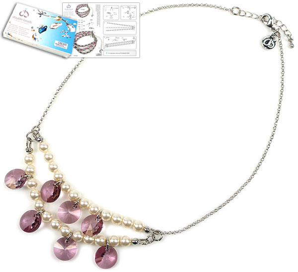 www.beadyourfashion.com - DoubleBeads Jewelry Kit Movie Star necklace ± 41-48cm, with SWAROVSKI ELEMENTS pearls, pendants and various other materials (such as metal accessories)