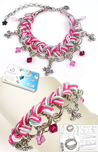 www.beadyourfashion.com - DoubleBeads Jewelry Kit Striped bracelet, inner size ± 20-27cm, with SWAROVSKI ELEMENTS beads, pointed backs and various other materials (such as silk cord and metal accessories)