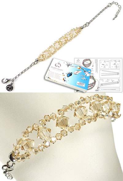 www.beadyourfashion.com - DoubleBeads Jewelry Kit Glitter bracelet, inner size ± 17-23cm, with SWAROVSKI ELEMENTS beads and various other materials (such as metal accessories)