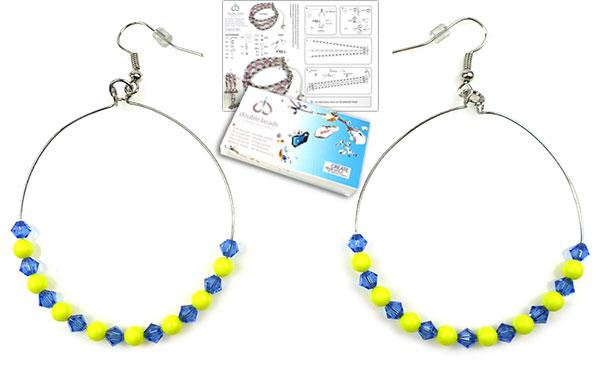 www.beadyourfashion.nl - DoubleBeads Sieradenpakket Hula Hoop oorbellen ± 7cm met SWAROVSKI ELEMENTS parels, kralen en diverse andere materialen (o.a. metalen accessoires)